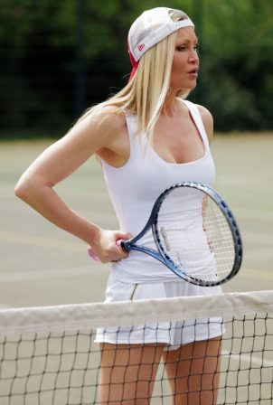 Caprice Bourret at a tennis club in London