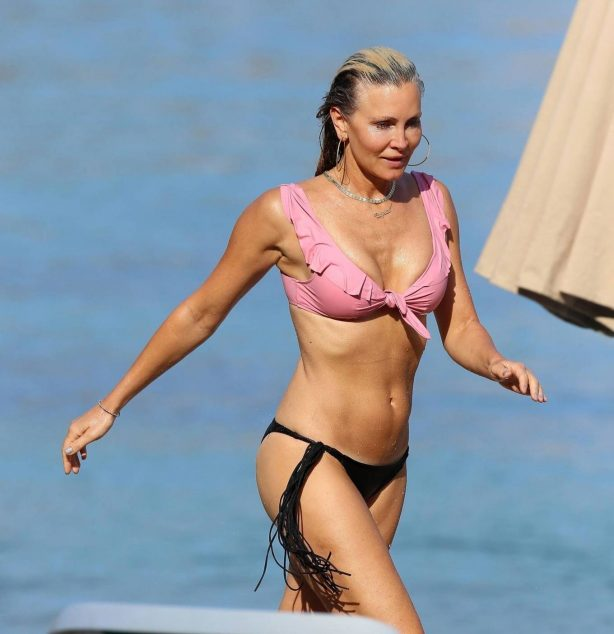 Caprice Bourret - Bikini candids at the beach in Ibiza