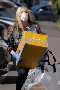Caprice Bourret - Caying care packages to NHS staff during the coronavirus pandemic