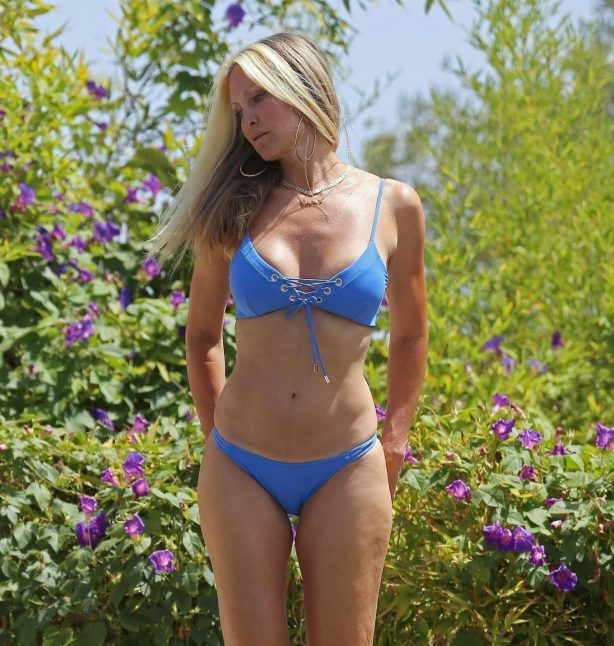Caprice Bourret - In a blue bikini in Ibiza