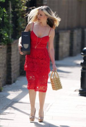 Caprice Bourret in Red Dress - Out in Notting Hill