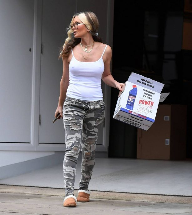 Caprice Bourret - Out in a white vest top in London