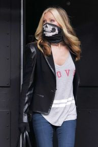Caprice Bourret wore a skull face mask in London