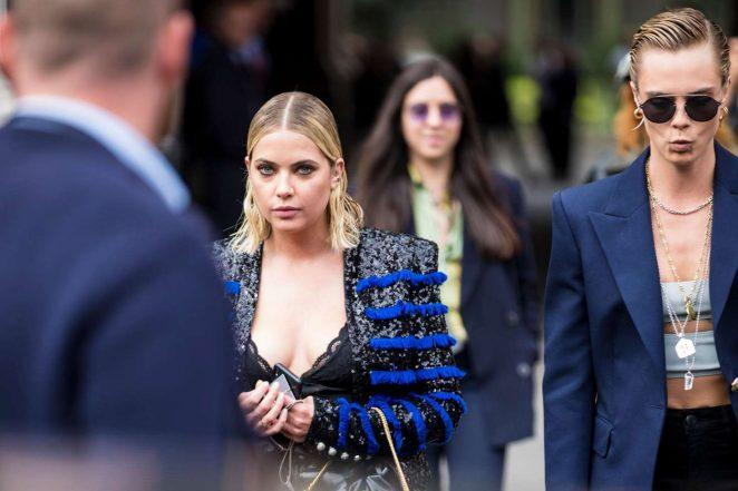 Cara Delevingne and Ashley Benson: Leaves Balmain Fashion ...