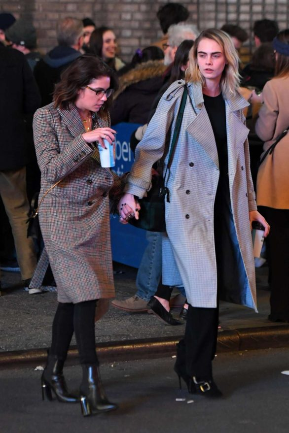 Cara Delevingne and Ashley Benson - Leaves Broadway show 'Jagged Little Pill' in NY