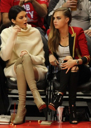 Cara Delevingne and Kendall Jenner at a Lakers Game in LA