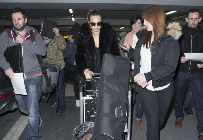 Cara Delevingne at Heathrow Airport -12