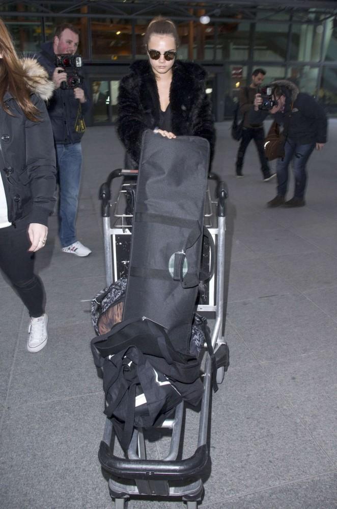 Cara Delevingne at Heathrow Airport -15