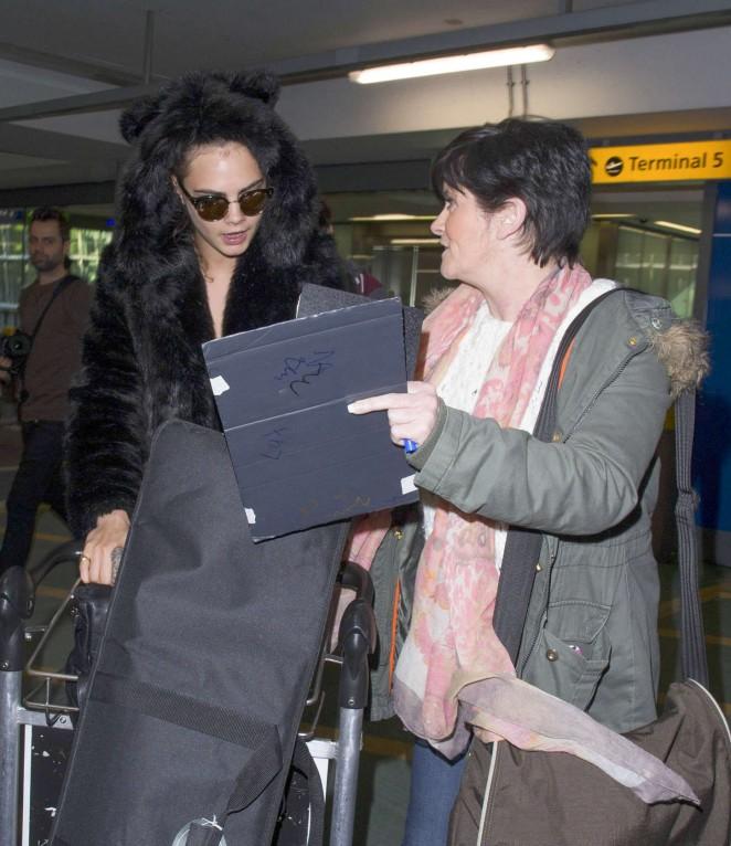 Cara Delevingne at Heathrow Airport -17