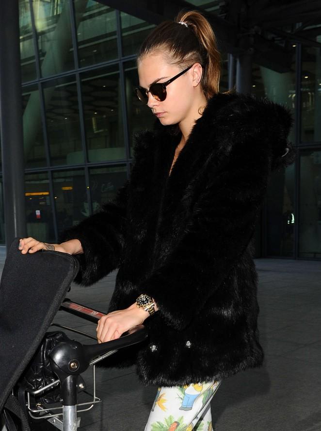 Cara Delevingne at Heathrow Airport -20
