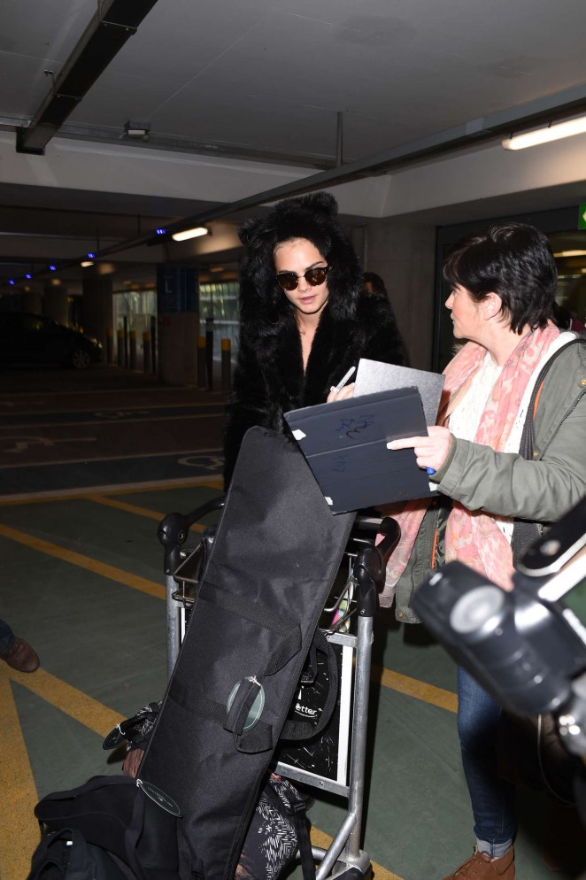 Cara Delevingne at Heathrow Airport -32