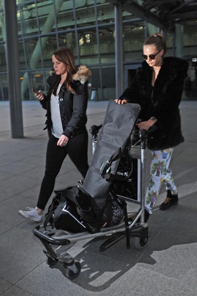 Cara Delevingne at Heathrow Airport -36