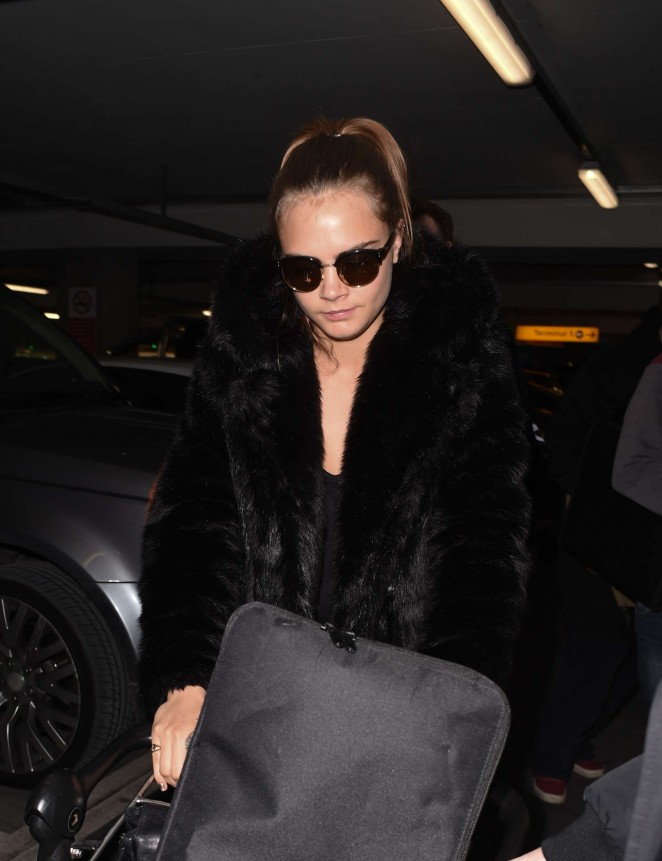 Cara Delevingne at Heathrow Airport -53