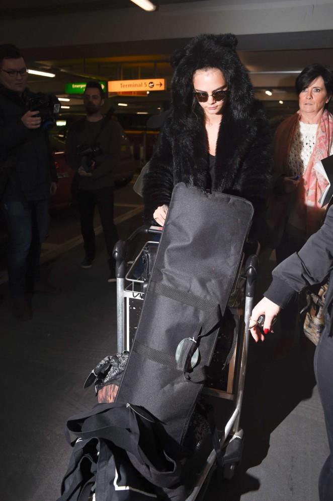 Cara Delevingne at Heathrow Airport -63