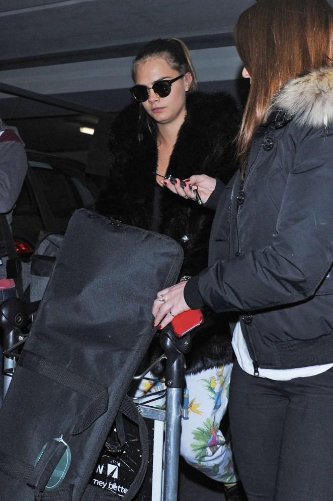 Cara Delevingne at Heathrow Airport -67