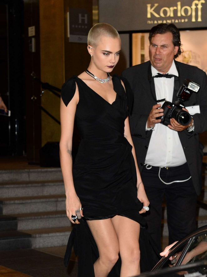 Cara Delevingne – Arriving at Magnum Moschino Party in Cannes