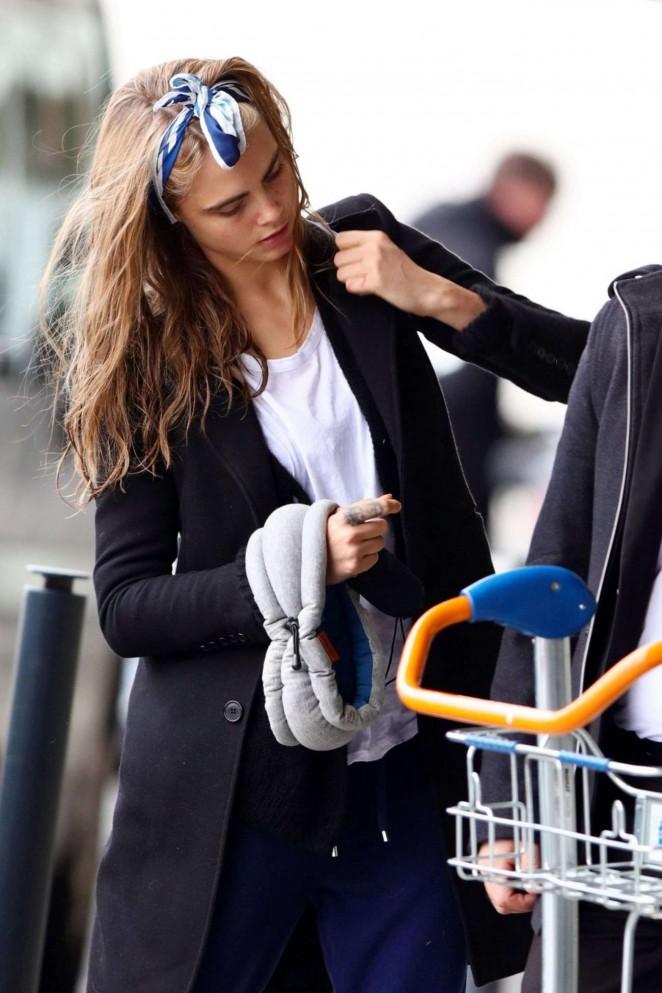 Cara Delevingne – Arriving at Orly Airport in Paris