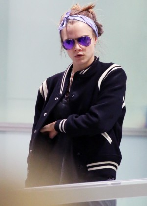 Cara Delevingne at an airport in Sydney
