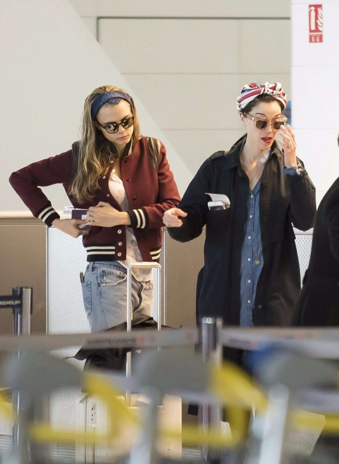 Cara Delevingne at Charles de Gaulle Airport in Paris