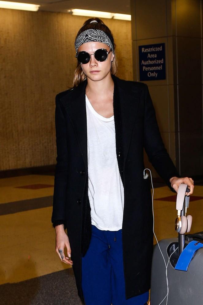 Cara Delevingne at JFK Airport in NYC