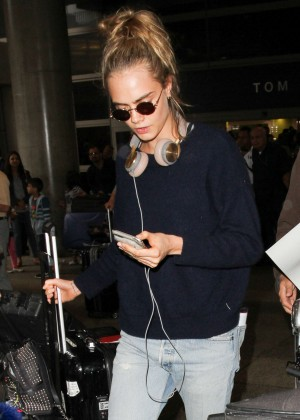 Cara Delevingne at Los Angeles International Airport