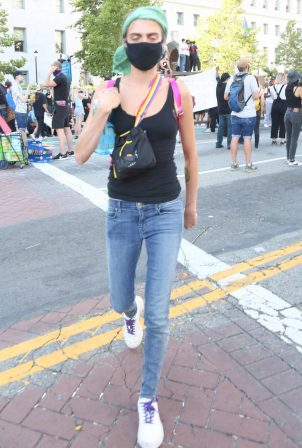 Cara Delevingne - Attending a protest in front of City Hall in Downtown Los Angeles