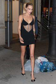 Cara Delevingne in Black Mini Dress - Leaves The Wing in New York
