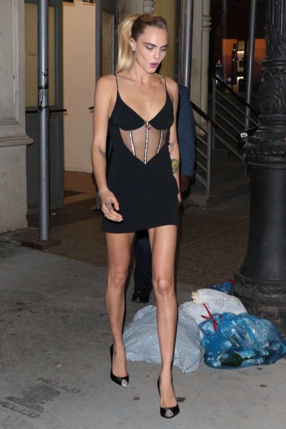 Cara Delevingne in Black Mini Dress - Leaves The Wing in New York