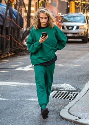 Cara Delevingne in Green out in New York City