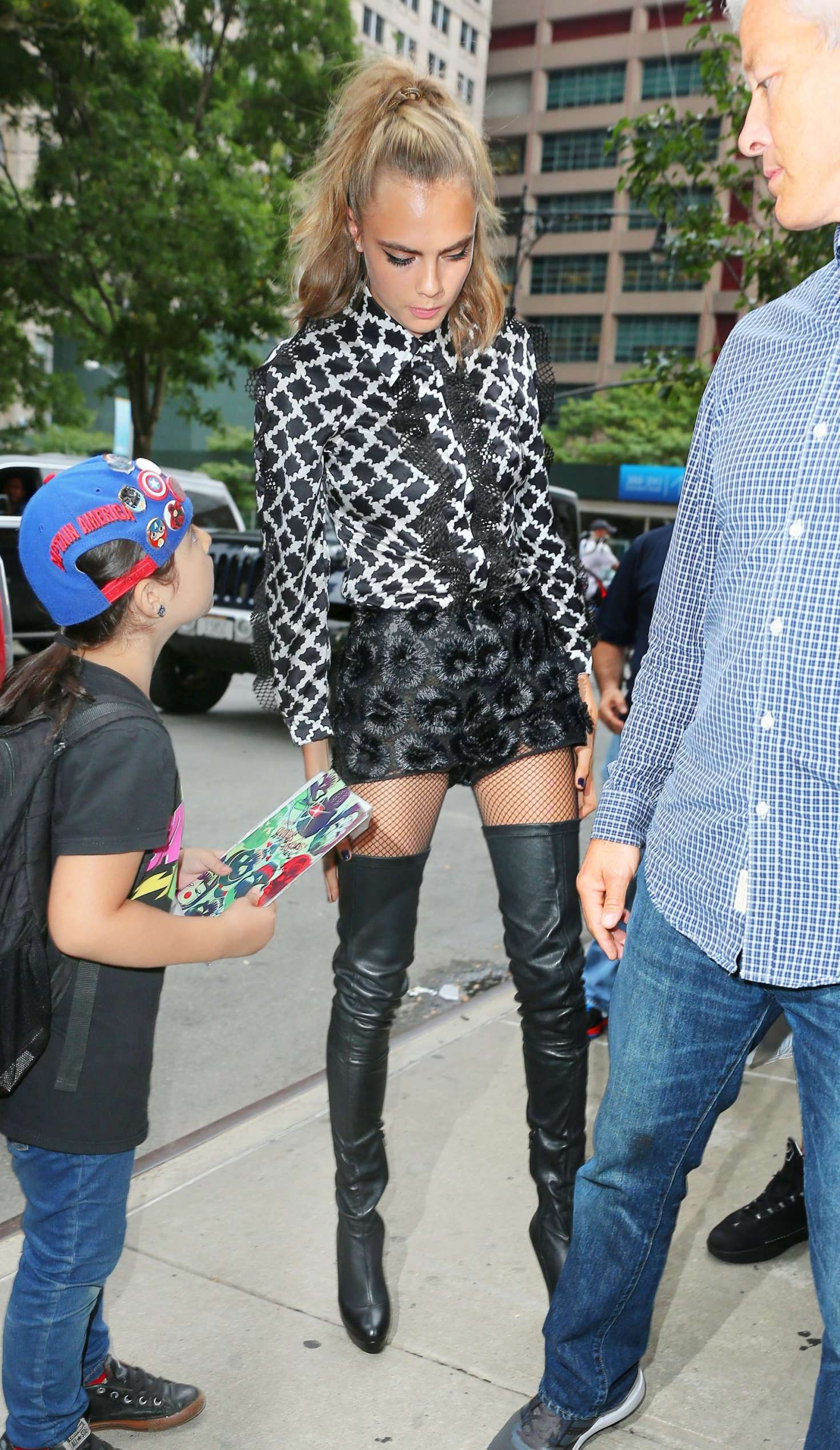 Cara Delevingne in thigh high boots and short shorts -06 - GotCeleb