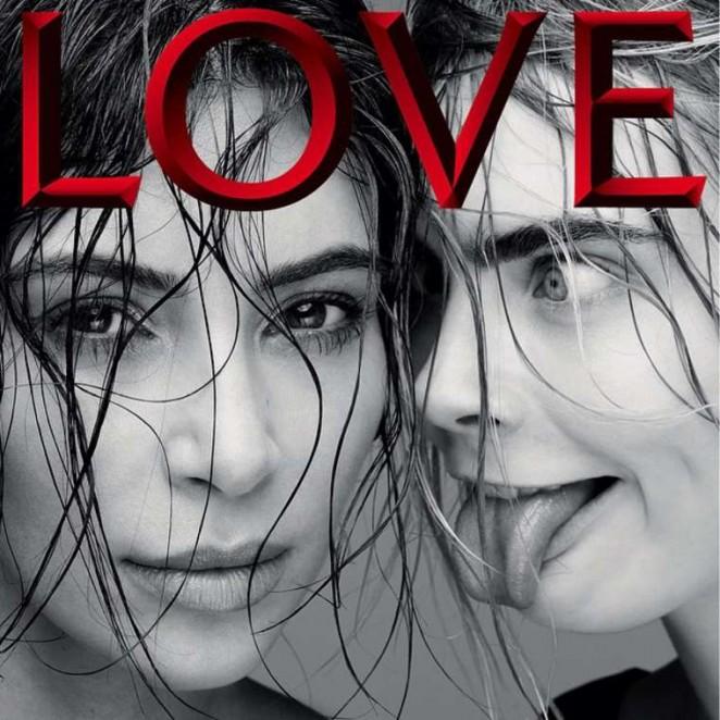 Cara Delevingne & Kim Kardashian - LOVE Cover (February 2015)