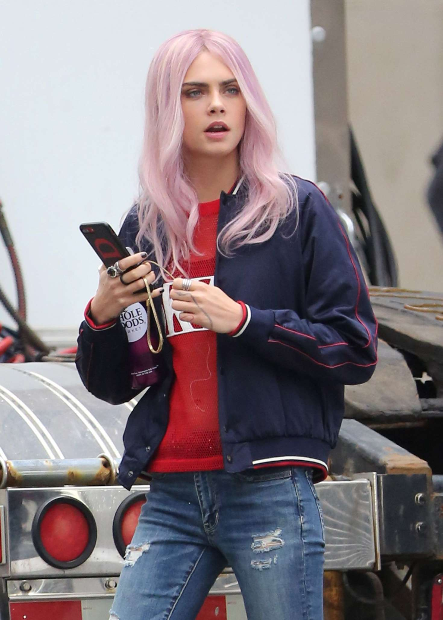 Cara Delevingne on set of 'Life In A Year' in Toronto