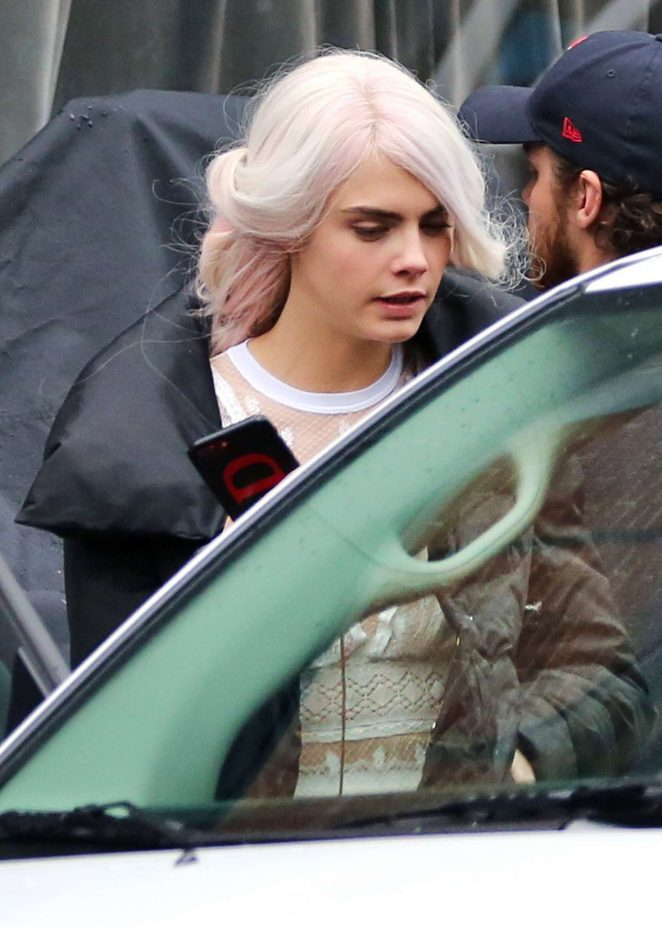 Cara Delevingne - On the set of 'Life in a Year' in Toronto