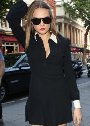 Cara Delevingne in Short Dress Out in London