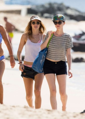 Cara Delevingne with Annie Clark and Suki Waterhouse: on the beach in Barbados-18