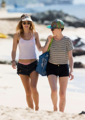 Cara Delevingne with Annie Clark and Suki Waterhouse: on the beach in Barbados-74