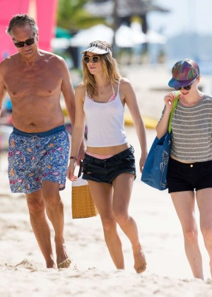 Cara Delevingne with Annie Clark and Suki Waterhouse: on the beach in Barbados-75