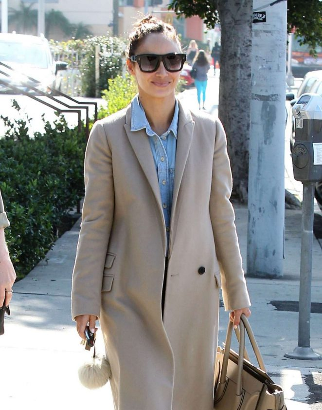 Cara Santana in Beige Coat Out in West Hollywood