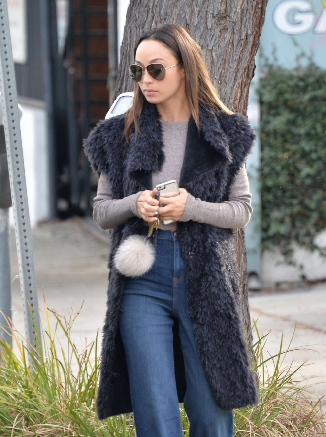 Cara Santana in fuzzy vest out in Los Angeles