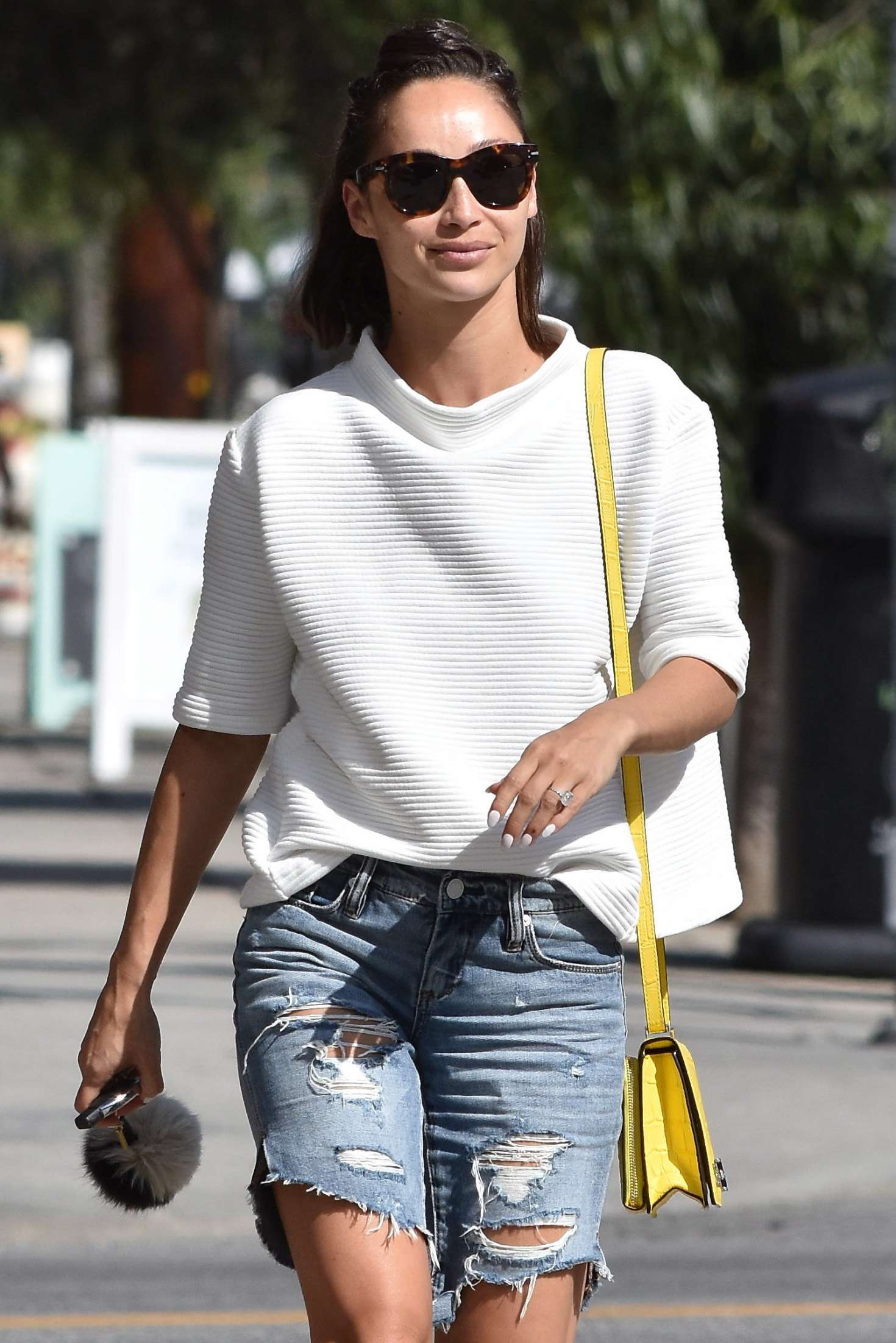 Cara Santana in Jeans Shorts out in West Hollywood