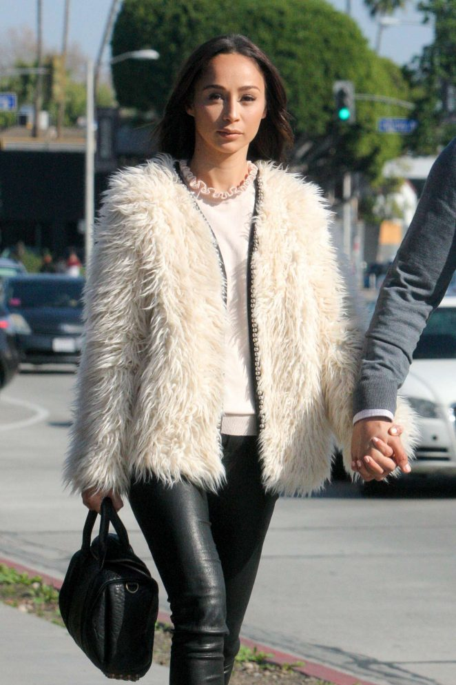 Cara Santana in Leather and Fur Coat out for lunch in Beverly Hills