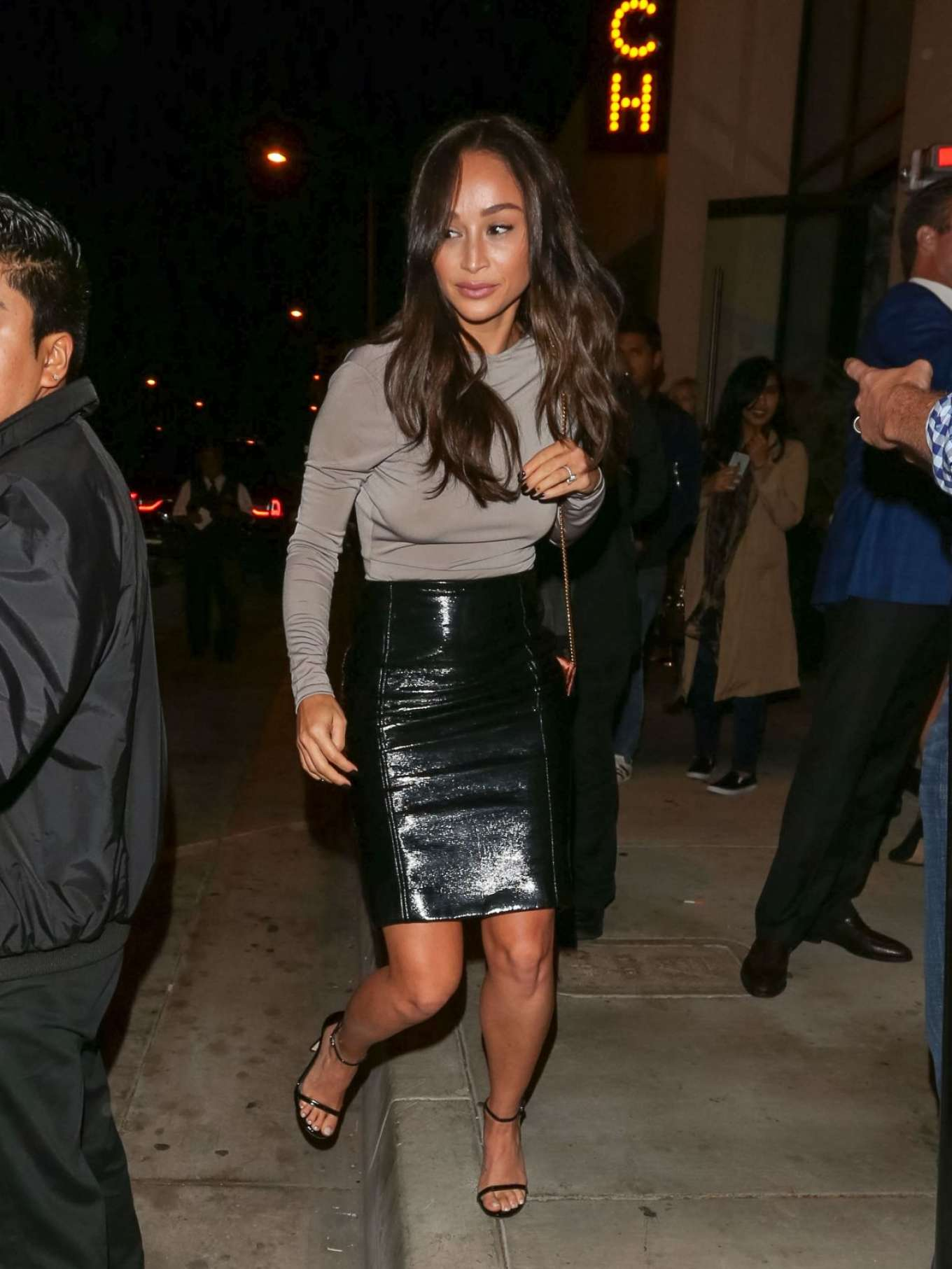 Cara Santana in Leather Skirt Night Out in LA