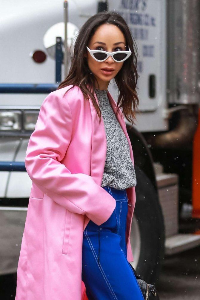 Cara Santana in Pink Long Coat - Out in Soho
