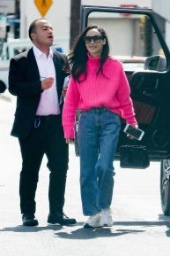 Cara Santana - In pink sweater and jeans arrives at the San Vicente Bungalows