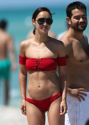 Cara Santana in Red Bikini on Miami Beach