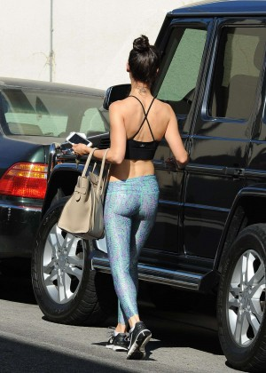 Cara Santana in Tights Leaving the gym in LA