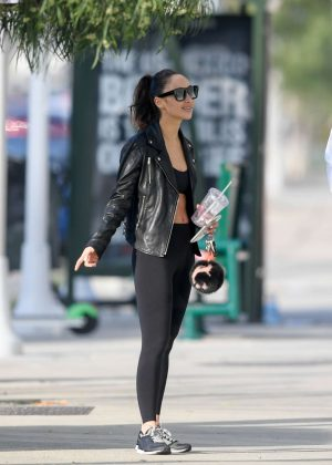 Cara Santana in Tights – Leaving the gym in LA