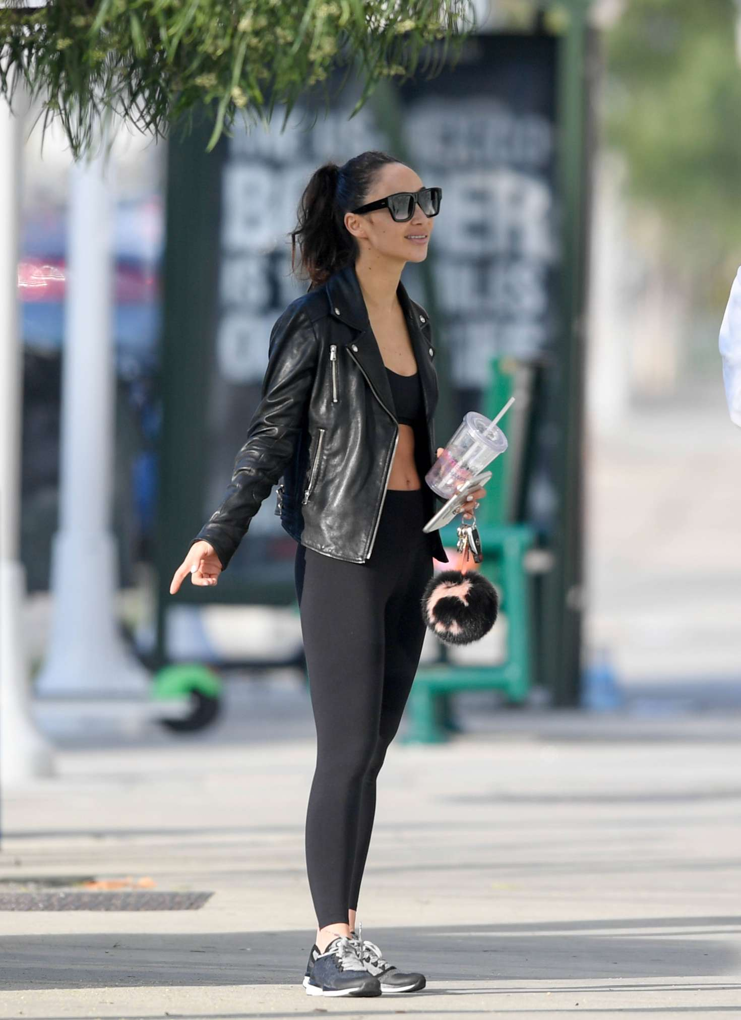 Cara Santana in Tights - Leaving the gym in LA