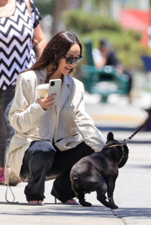 Cara Santana - Pictured with French Bulldog in West Hollywood