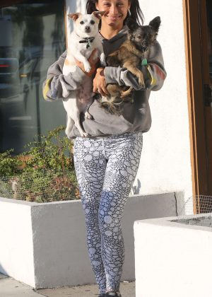 Cara Santana with her two dogs in West Hollywood
